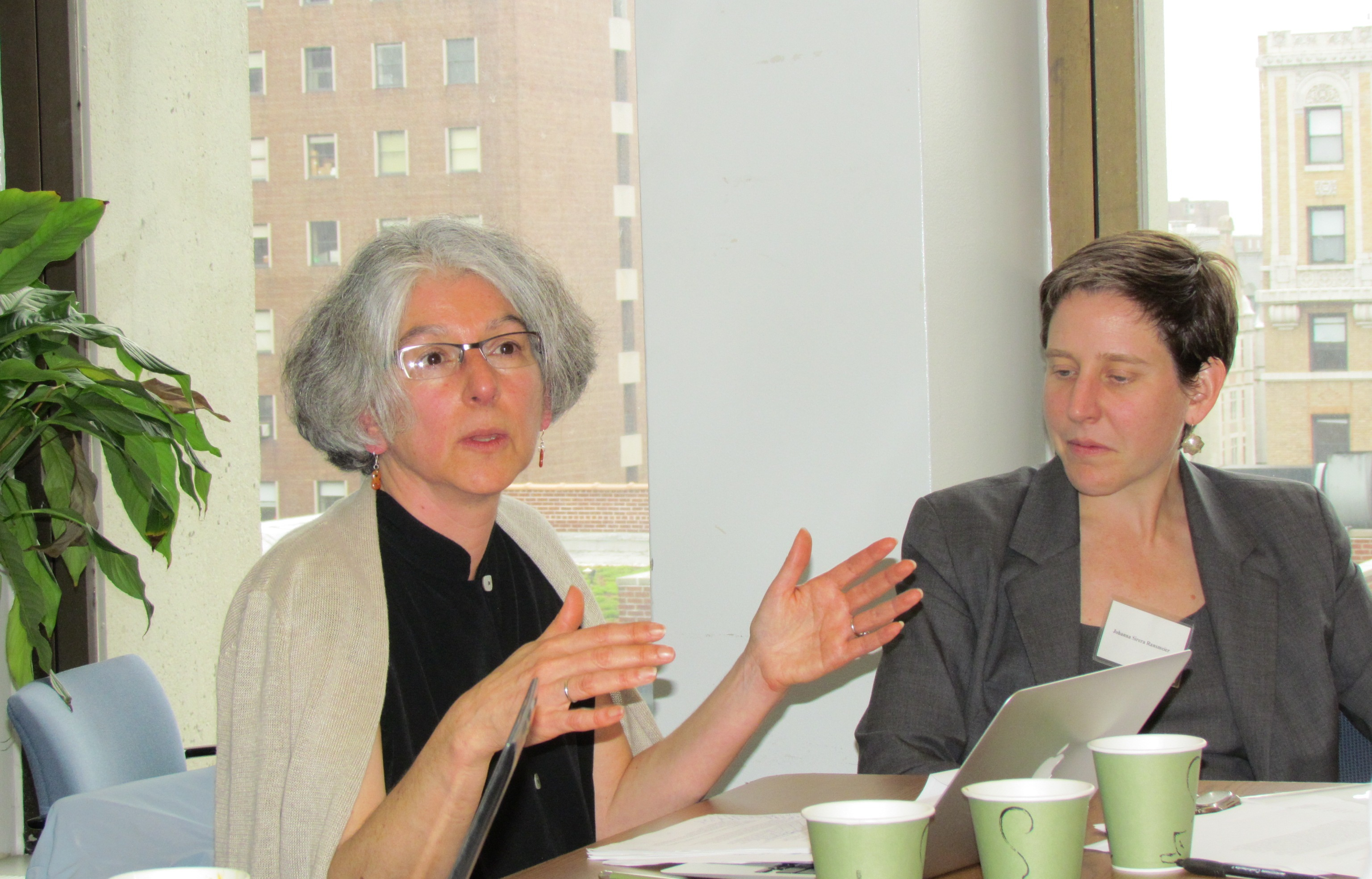 Bryna Goodman speaking at Columbia in May 2012, Johanna Ransmeier to the right.