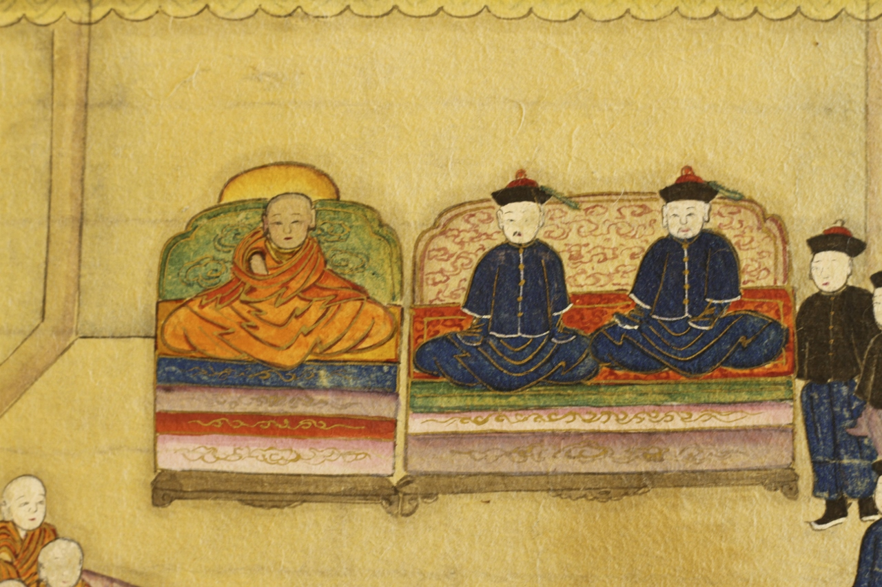 "Detail of a 19th century album titled ""The finding of the Dalai Lama"" held in the collection of the Sackler Museum at Harvard (Harvard Art Museums, Arthur M. Sackler Museum, Bequest of the Hofer Collection of the Arts of Asia, 1985.863.5.).  The picture probably depicts the identification and enthronement of the 9th Dalai Lama in 1808."